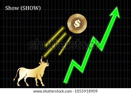 Gold bull, throwing up Show (SHOW) cryptocurrency golden coin up the trend. Bullish Show (SHOW) chart