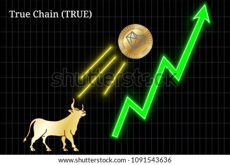 Gold bull, throwing up True Chain (TRUE) cryptocurrency golden coin up the trend. Bullish True Chain (TRUE) chart