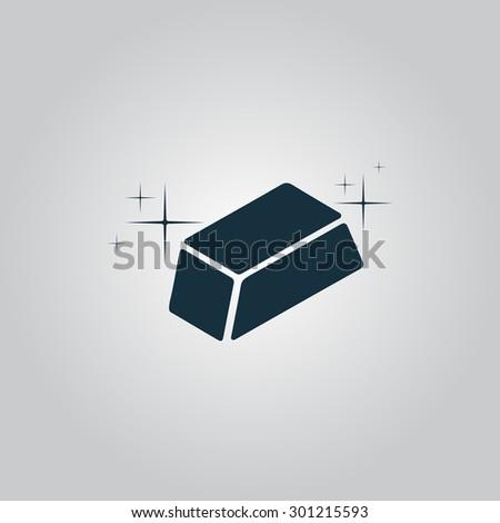 gold bullion flat web icon or