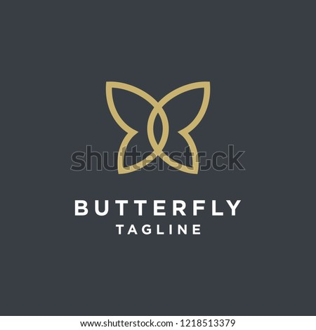 Gold Butterfly Logo. This logo suitable for beauty cosmetic logo.