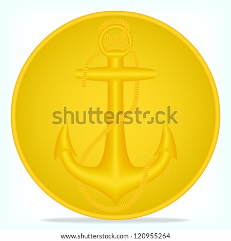 Gold button with an anchor, vector, 10eps.