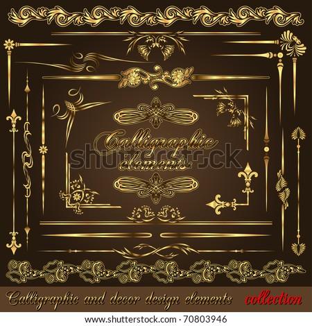 Gold calligraphic design elements vol2. Vector design corners, bars, swirls, frames and borders. Hand written retro feather symbols.