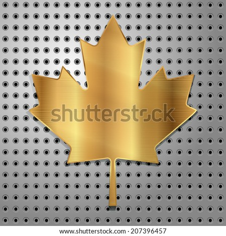 gold canadian leaf of maple on