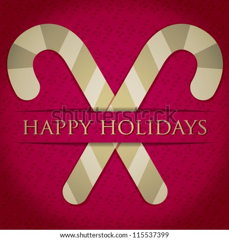 "Gold candy cane ""Happy Holidays"" card in vector format."