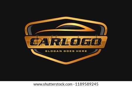 Gold car, auto, automotive logo template