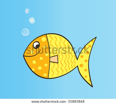 cartoon fish. Cute yellow cartoon fish.