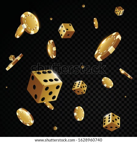 gold casino poker chips and