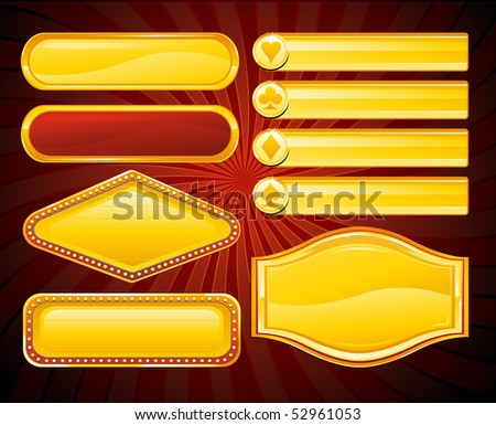 Gold casino signs and banners