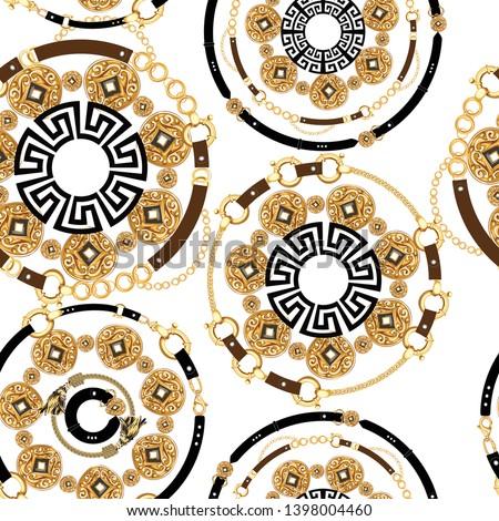 gold chain belt pattern, baroque gold  pattern, gold chain belt design, traditional ethnic pattern, chain belt