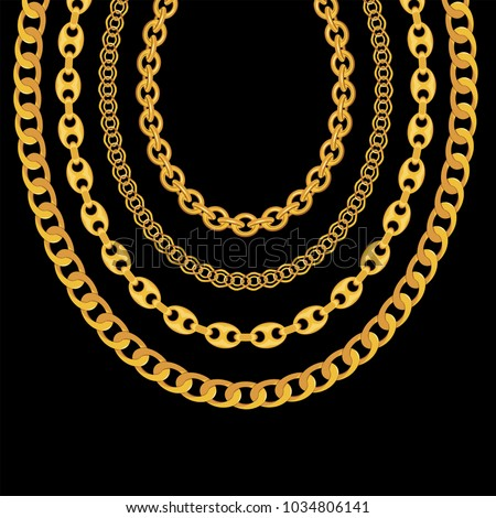 Stock Photo Gold Chain Jewelry on Black Background. Vector Illustration. EPS10