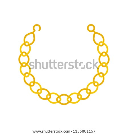 gold chain necklace or bracelet, jewelry related icon, flat design