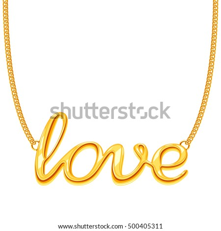 gold chain necklace with love