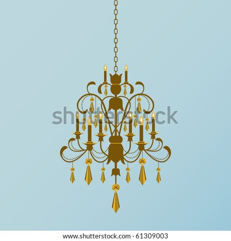 Gold chandelier with gold crystals hanging