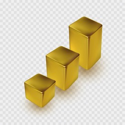 Gold chart isolated on transparent background. Perspective 3d golden cube model with shadow. Vector box, bar, ingot or block graph template
