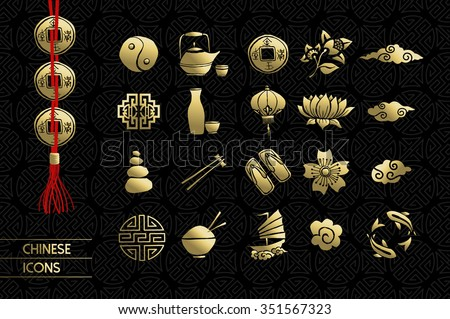 gold chinese icons set