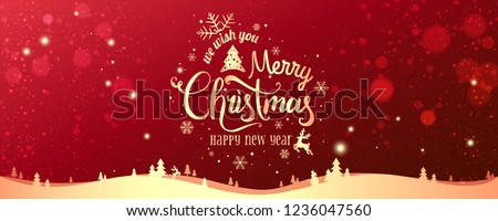 Gold Christmas and New Year Typographical on red Xmas background with winter landscape with snowflakes, light, stars. Merry Christmas card. Vector Illustration