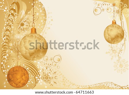 Gold christmas background with baubles. - stock vector