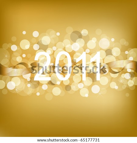 Gold Christmas Background With Beams And Figures, Vector Illustration