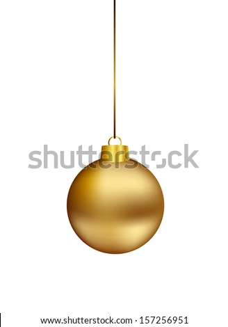gold christmas ball hanging on