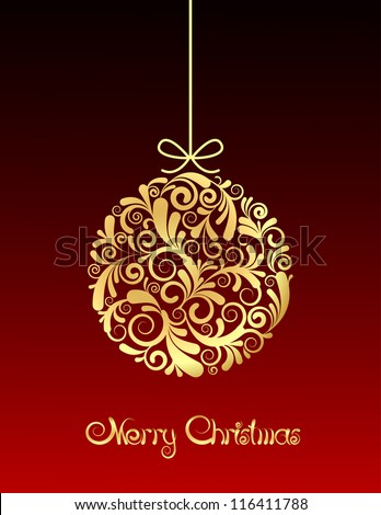 Gold Christmas ball on red background.  Vector illustration