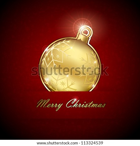 Gold Christmas ball on red grunge background, illustration.