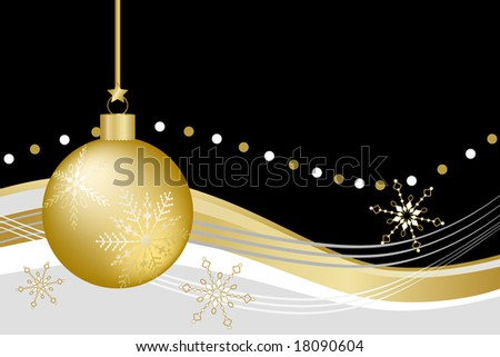Gold Christmas ball ornament with snowflakes against black, gold, white, and gray abstract background.