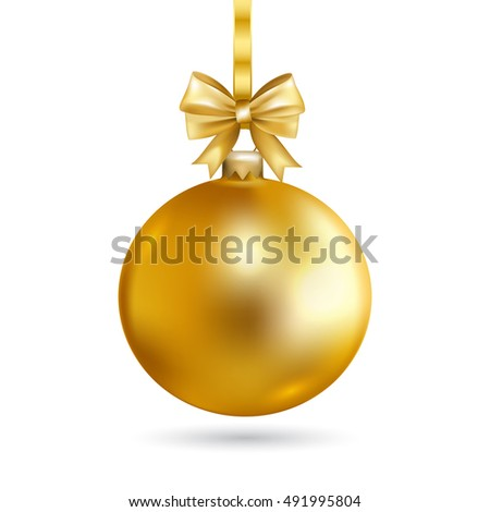 gold christmas ball with bow