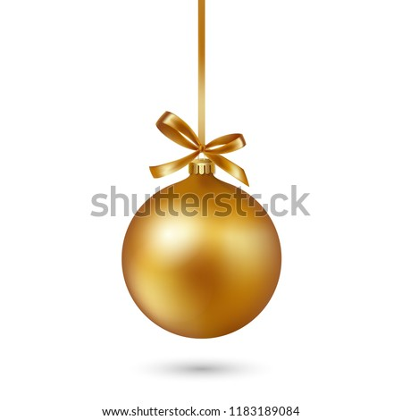 stock-vector-gold-christmas-bauble-with-ribbon-and-bow-on-white-background-vector-illustration