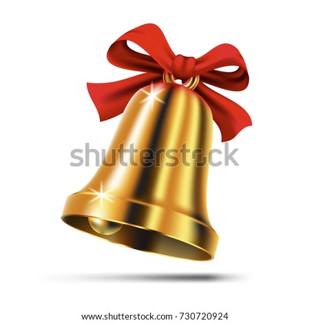 Gold christmas bell with red ribbon bow. Isolated realistic jingle icon. Vector illustration