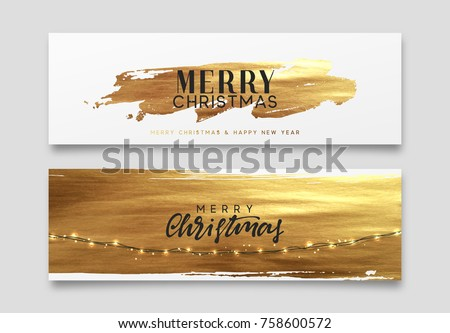 Gold Christmas card, design with golden paint brush. Xmas greeting card vector illustration