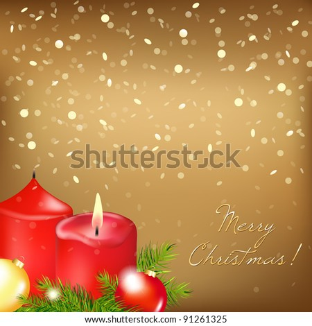 Gold Christmas Card With Red Candle, Vector Illustration