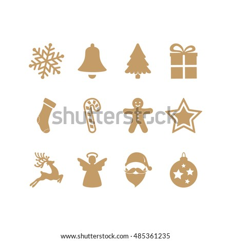 gold christmas icons set