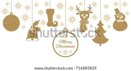 Gold Christmas Pendants A Bell With Holly Ball Fir Tree Deer