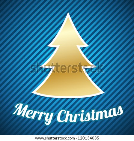 Gold Christmas tree with white outline on blue striped background