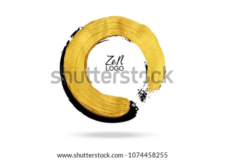Gold circle. Hand drawn round design element for logo, business, corporate identity. Enso zen calligraphy brush stroke. Stock foto ©
