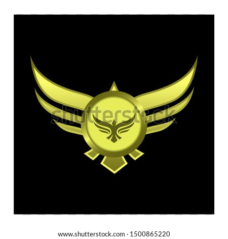 gold circle with wings badge or emblem for gui.