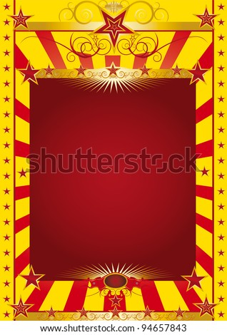 gold circus poster. A circus poster with a gold baroque frieze.