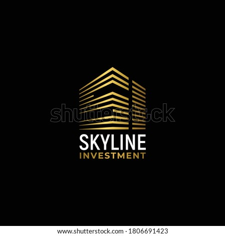 Gold City Building with Initial Letter S I, Golden Real Estate Apartment with SI Monogram luxury elegant logo design