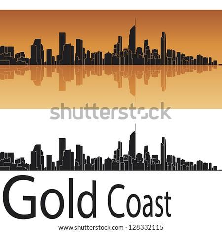 gold coast skyline in orange
