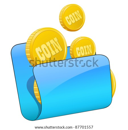 Gold coin in file folder.