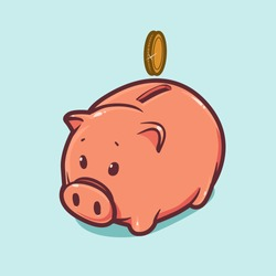 gold coin on moneybox, vector piggy bank illustration, business concept
