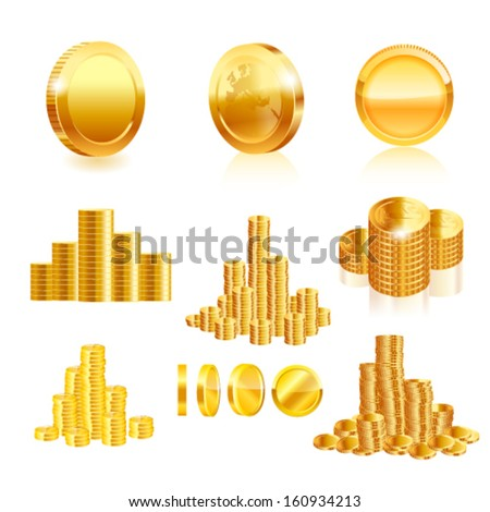 Gold coin set. Vector