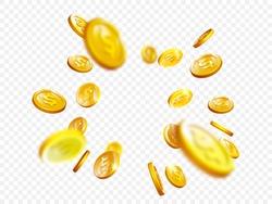 Gold coin splash background. Vector 3d realistic golden dollar coins explosion illustration for game, casino, winner or jackot concept advertising template.