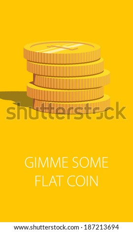 Gold coin stack on yellow background. Modern flat design element. EPS10 vector.