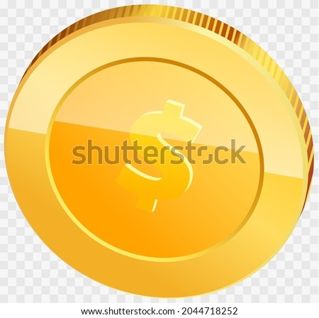 Gold coin with dollar sign isolated. Realistic 3d coin. Money penny as symbol of wealth and success. Income and high earnings in coins. Dollar coin vector illustration. Gold in form of penny Zdjęcia stock ©