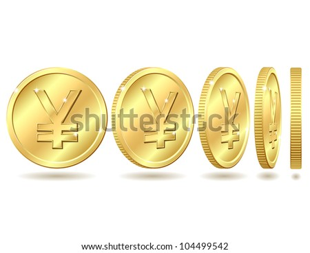 Gold coin with yen sign with different angles. Vector illustration isolated on white background