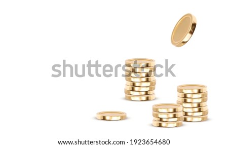 Gold coins cash money in piles, isolated on white transparent background. Vector illustration. Stock photo ©