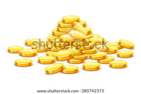 Gold coins cash money in rouleau. Vector illustration. Isolated on white background. Transparent objects used for lights and shadows drawing. Business and banking objects.