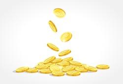 gold coins drop vector illustration