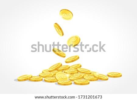 gold coins drop vector